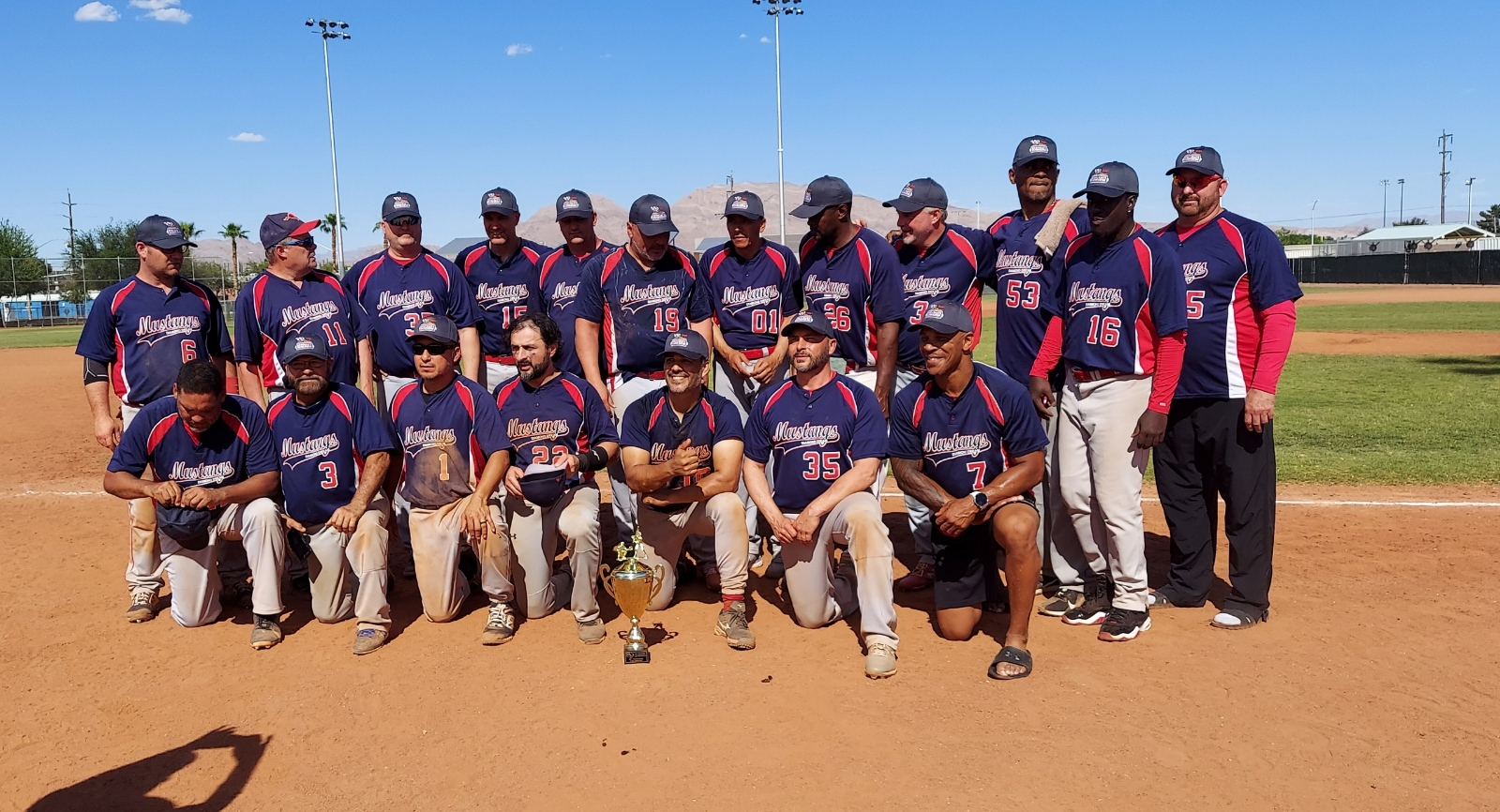 Current and former DCMSBL players on the 45 Vegas open championship team....Rick Clough, Omar Arelano, Chris Dunn, George Popkhadze, Vinvent Towns, Mike LaComb, Andre Keene, Jose Tovar, Mike Bailey.  Other Mustang tournament players...Dave Winstead, Scott McIntosh. Mike Burton, Spencer Headley, Mike Wood, Tony Moore, Ralph Rodriguez, Joe Flanagan, Rich Arcosta, Ray Davis