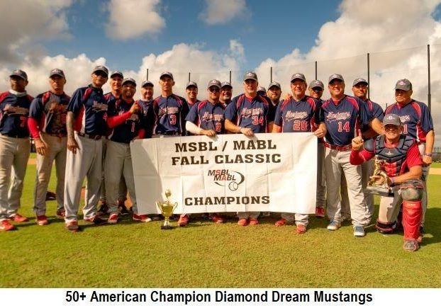 DCMSBL 50+ Mustangs American DIvision 2020 Fall Classic Champions